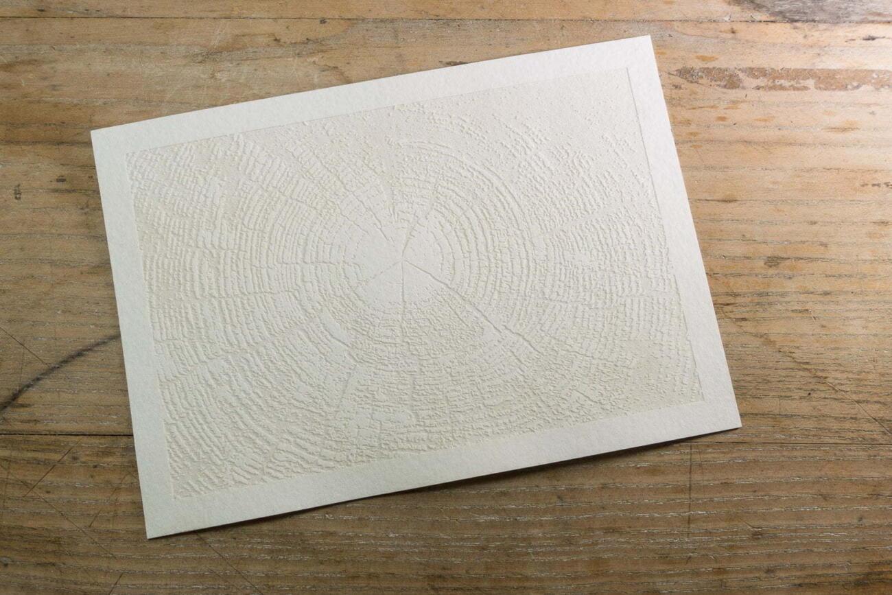 Laser gravierte Postkarte weiss mit Baum Struktur Muster