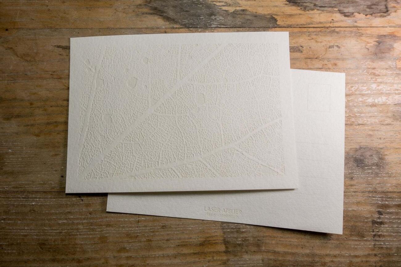 Laser gravierte Postkarte weiss mit Pflanzen Struktur Muster