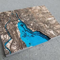 Laser cut and engraved topographic map (dufour map) of Zurich, Switzerland from 1944 by Robin Hanhart