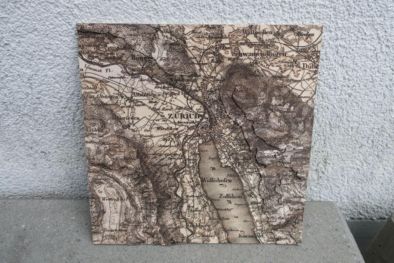 Lasercut Dufourkarte von Zürich 1864
