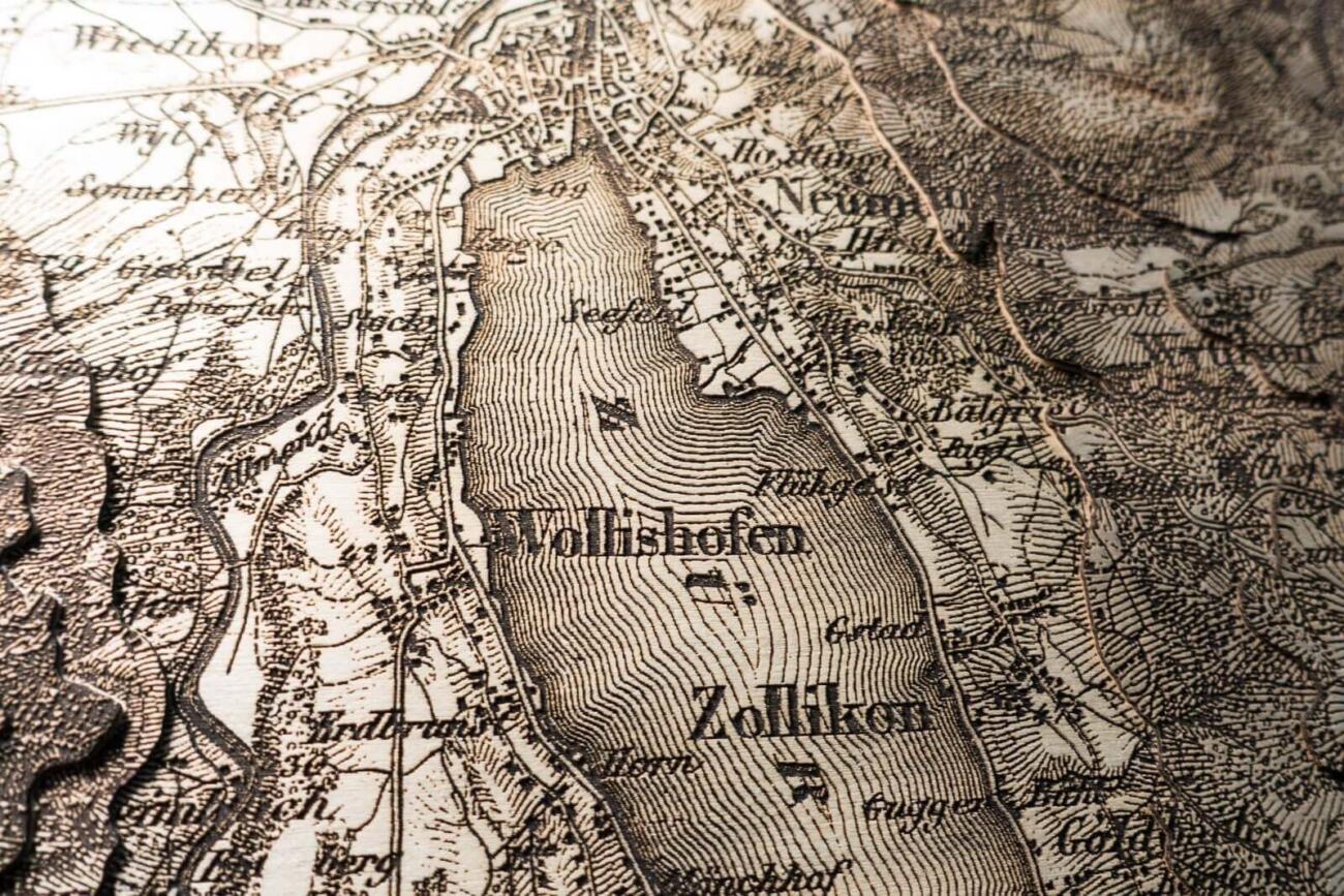 Detailansicht der Dufourkarte von Zürich 1864