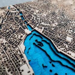 Detailansicht der Lasercut Dufour Karte von Zürich 1944 von Robin Hanhart