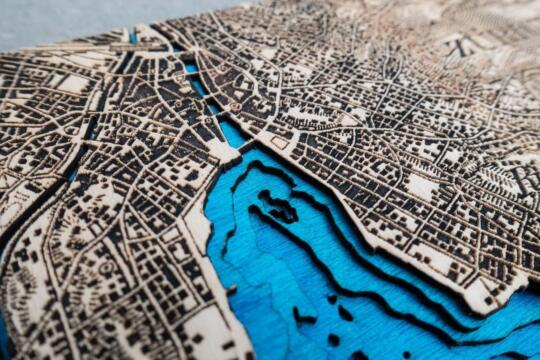 Detail view of the laser cut and engraved topographic map of Zurich from 1944 by Robin Hanhart