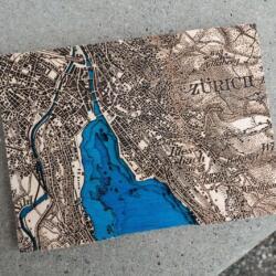Lasercut Dufour Karte von Zürich 2