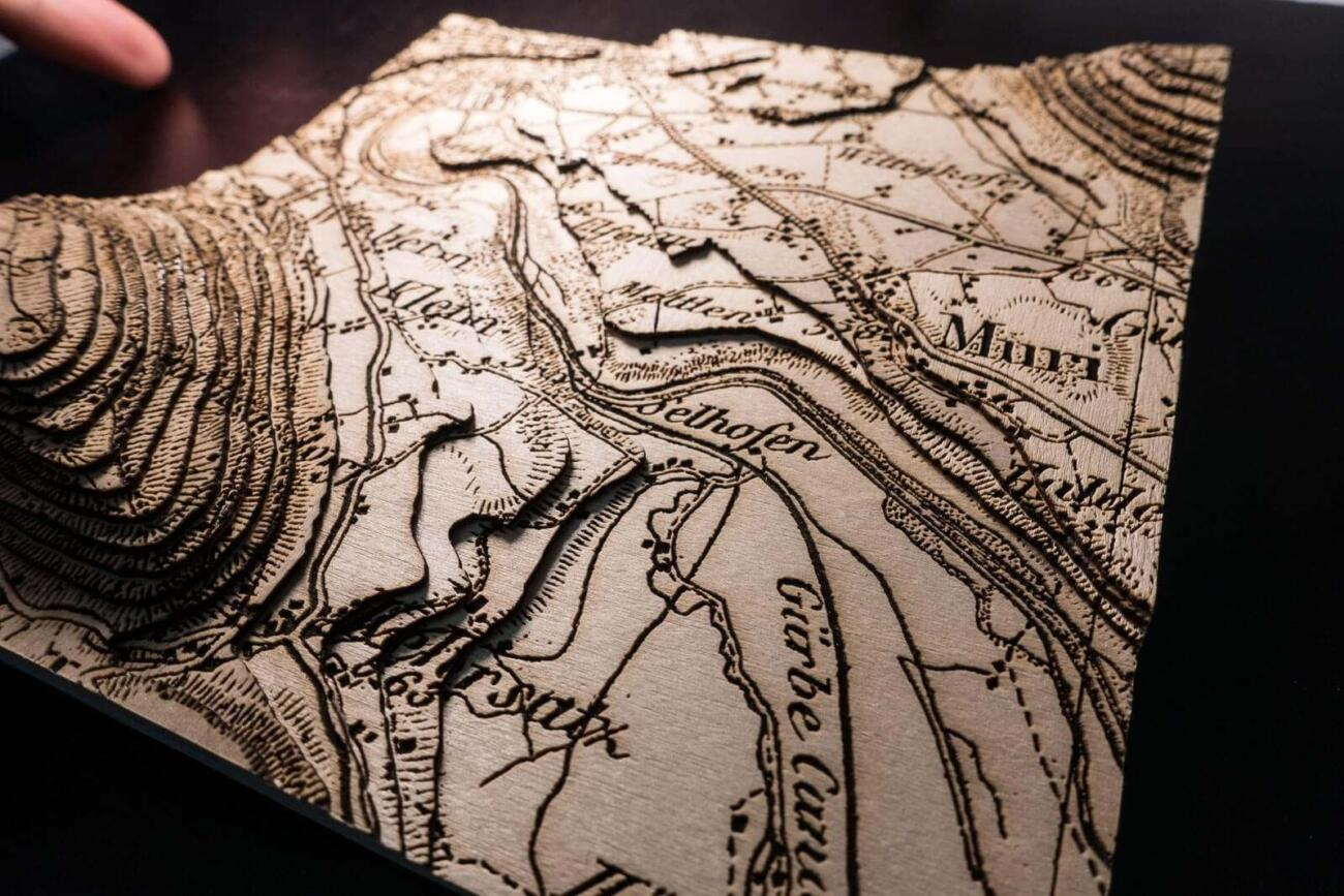 Lasercut Dufour map - near Berne in Switzerland
