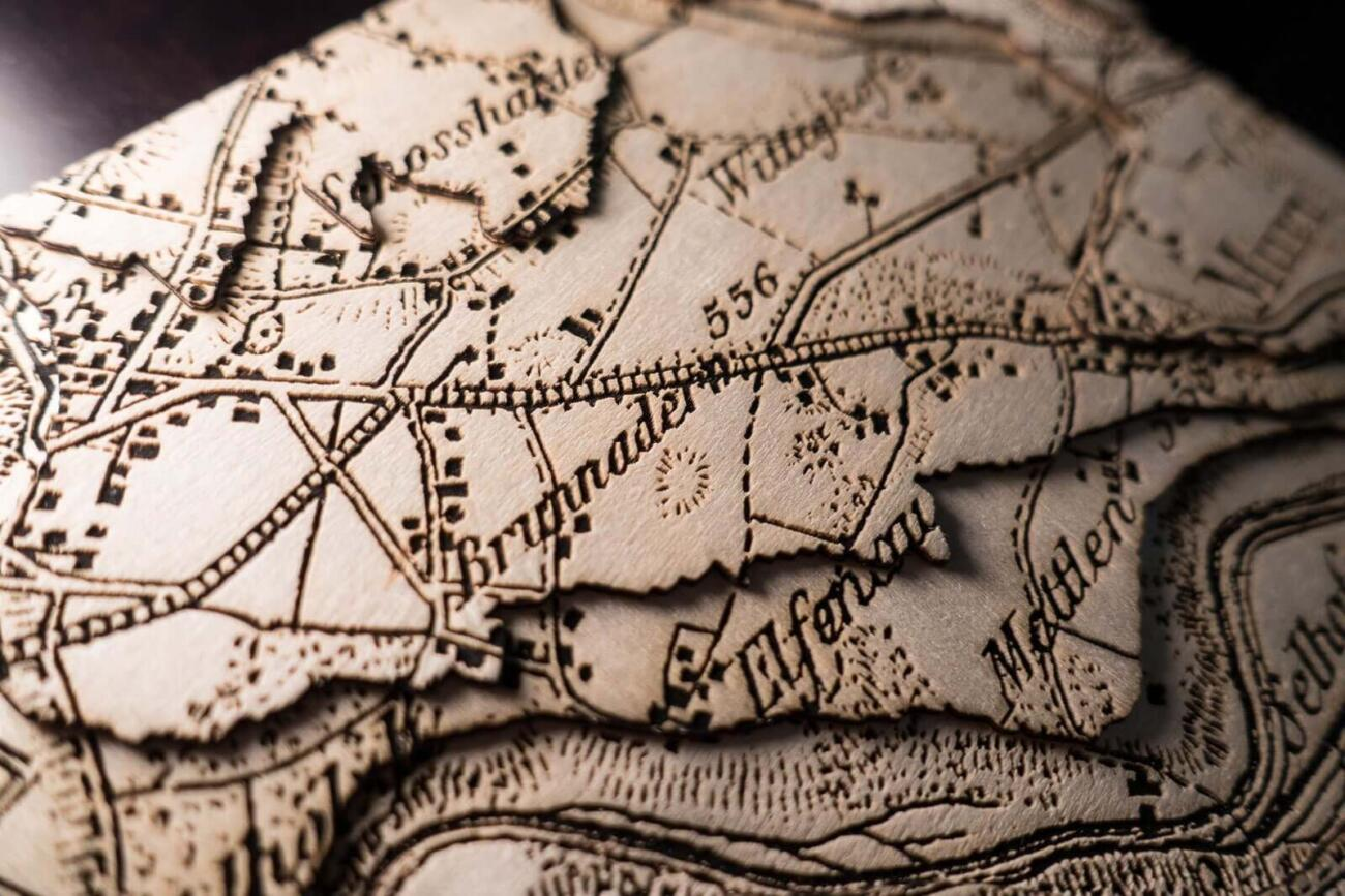 Lasercut Dufour map - Detail of the engraving