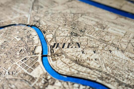 Vienna Historic City Map from 1901 - Laser Cut in Wood Detail by Robin Hanhart