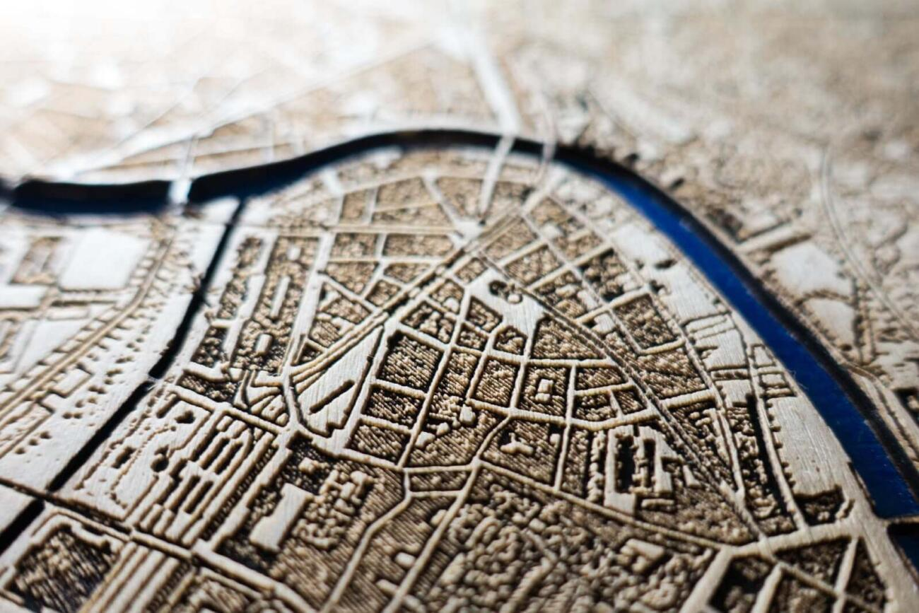 Vienna Historic City Map from 1901 - Laser Cut in Wood Detail 2