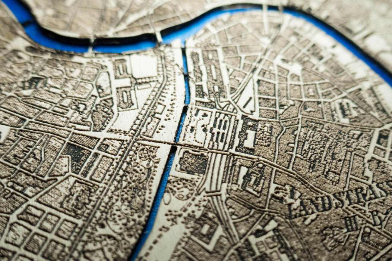 Vienna Historic City Map from 1901 - Laser Cut in Wood Detail 3