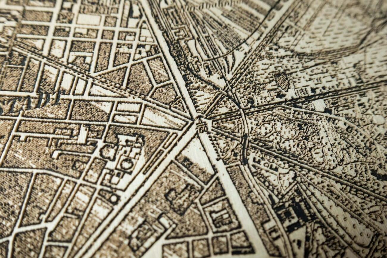 Vienna Historic City Map from 1901 - Laser Cut in Wood Detail 4