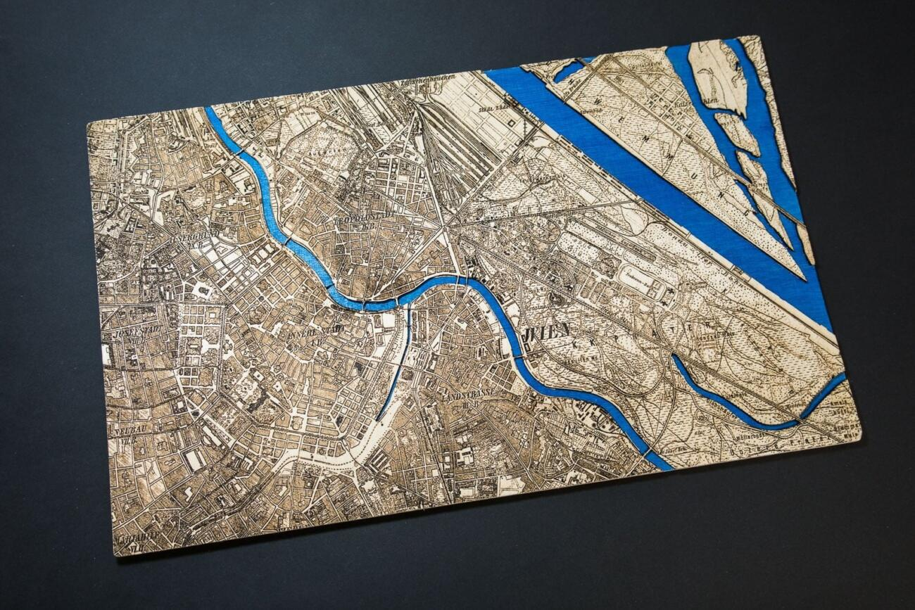 Vienna Historic City Map from 1901 - Laser Cut in Wood by Robin Hanhart