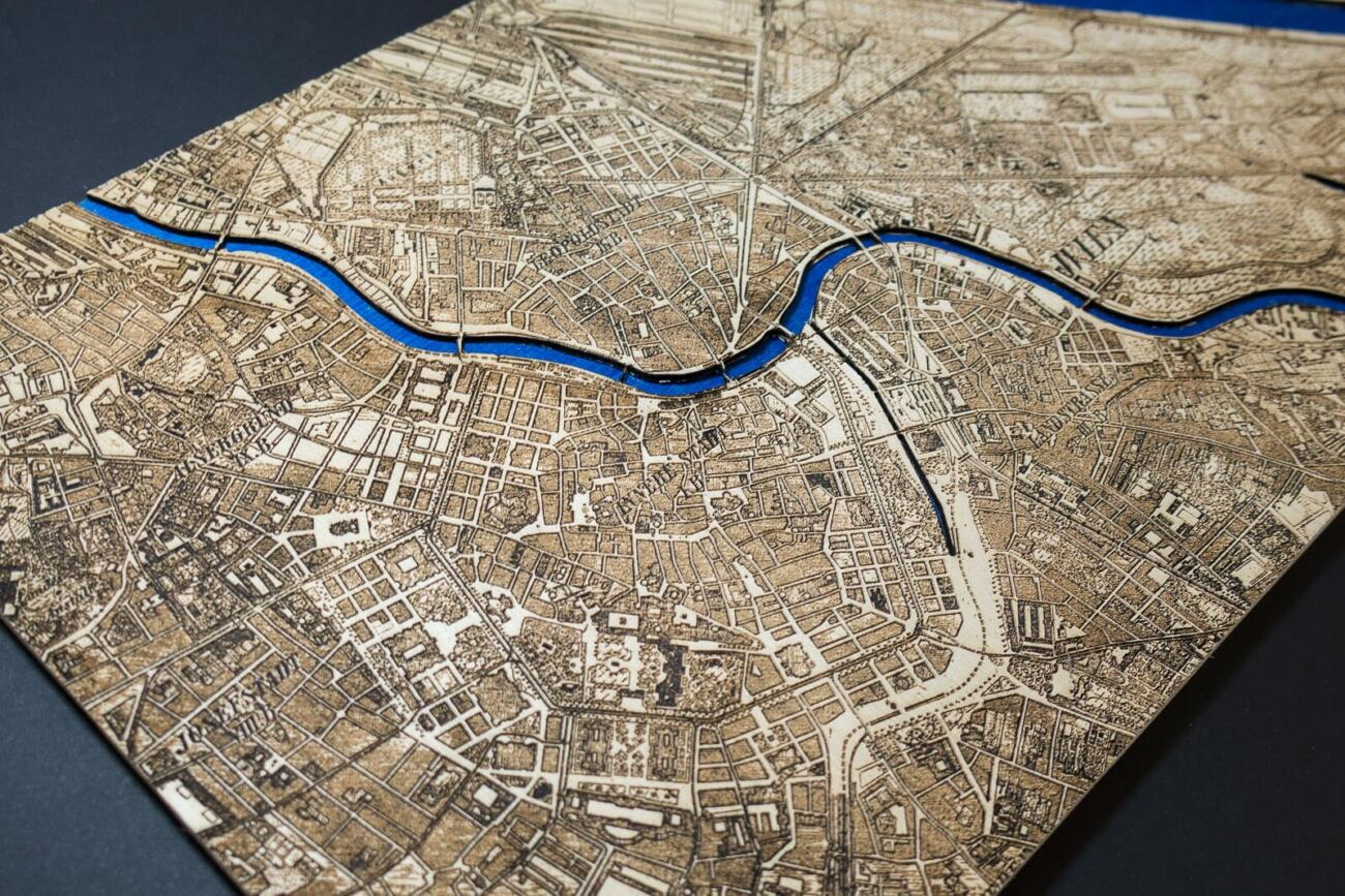 Vienna Historic City Map from 1901 - Laser Cut in Wood