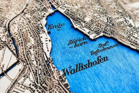 Dufour Map of Zurich 1944 - Laser engraved in Wood - Detail 1