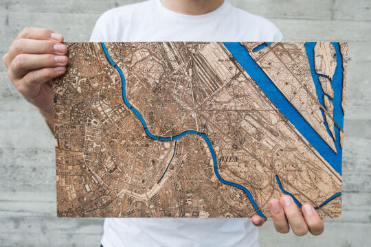 Wien Map 1901 - Lasercut in Wood - Atelier Shop Size