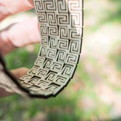 Lasercut bendable wood - Arm bracelet backside view