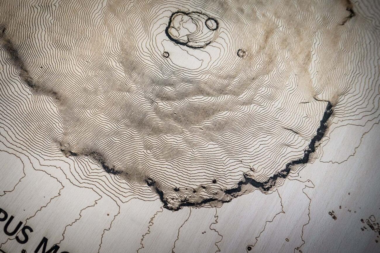 Mars Olympus Mons - Lasercut topografische Karte - Konturen Detail