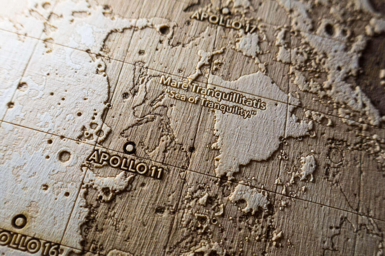 Topographic Map of the Moon showing the landing site of Apollo 11 in Mare Tranquillitatis by Robin Hanhart