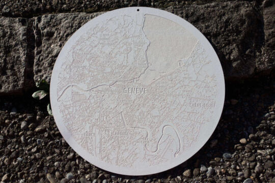 Laser engraved paper city map of Geneva - Shop size round