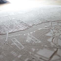 Papier Laser-Gravur Stadtkarte von New York - Gravur Detail 3