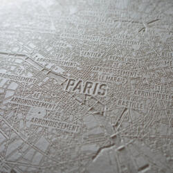 Laser engraved paper city map of Paris - Detail Engraving 1