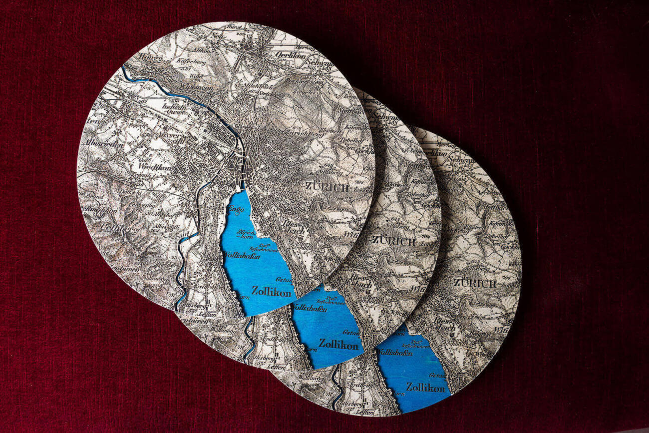 Historical Dufour map of Zurich, Switzerland in 1944 - Lasercut production run of three round maps