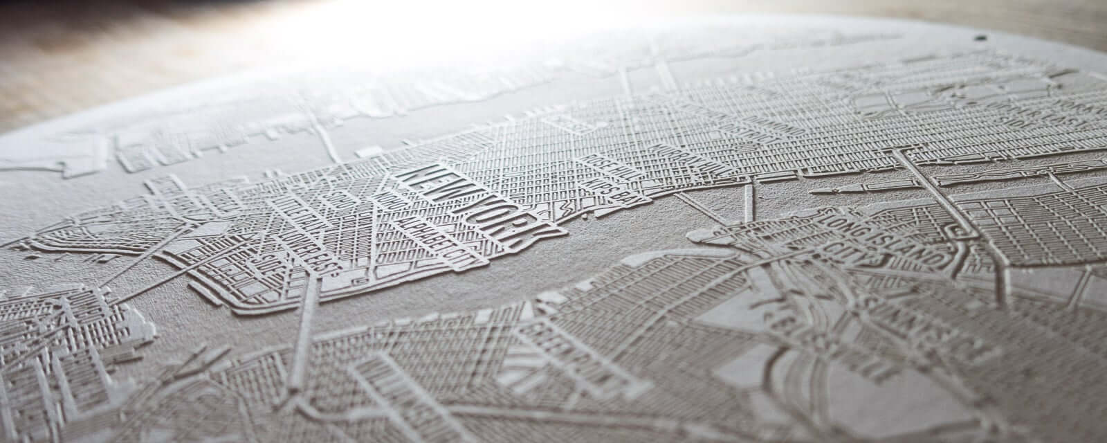 Laser Paper engraving of the map of New York City.