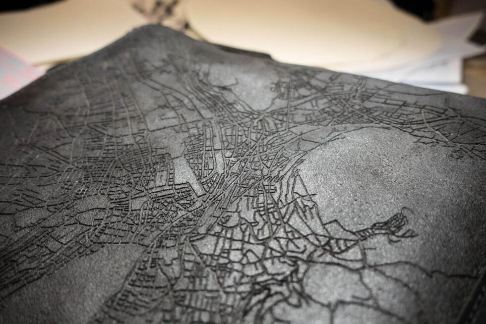 Laser engraved leather bag - detail of engraving