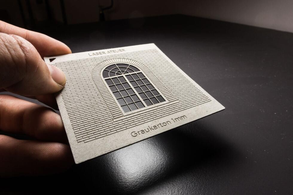 Material sample for architectural models - laser engraving in gray cardboard 1mm