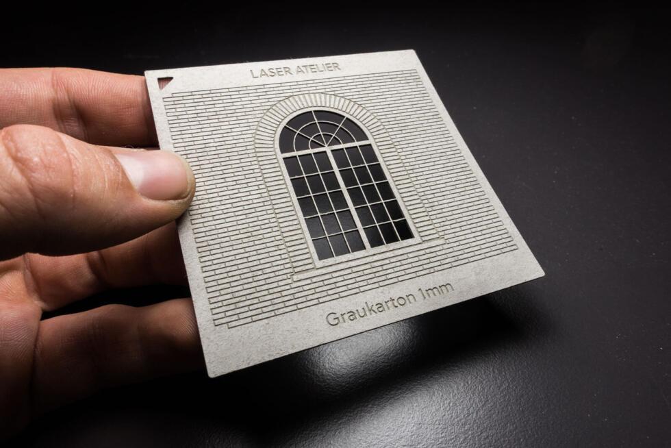 Material Muster für Architektur Modelle - Lasergravur in Graukarton 1mm