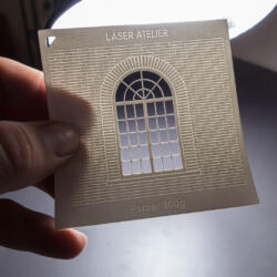 Material sample for architectural models - laser engraving in white paper
