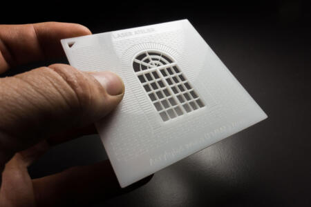 Material sample for architectural models - laser engraving white acrylic 2mm