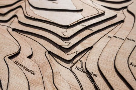 Topographical map of Hemmental, Schaffhausen - Lasercut and engraving detail