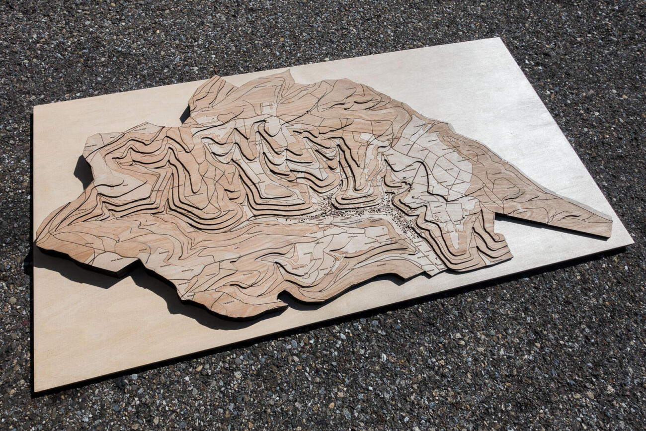 Topographical map of Hemmental, Schaffhausen - Lasercut and engraving in wood