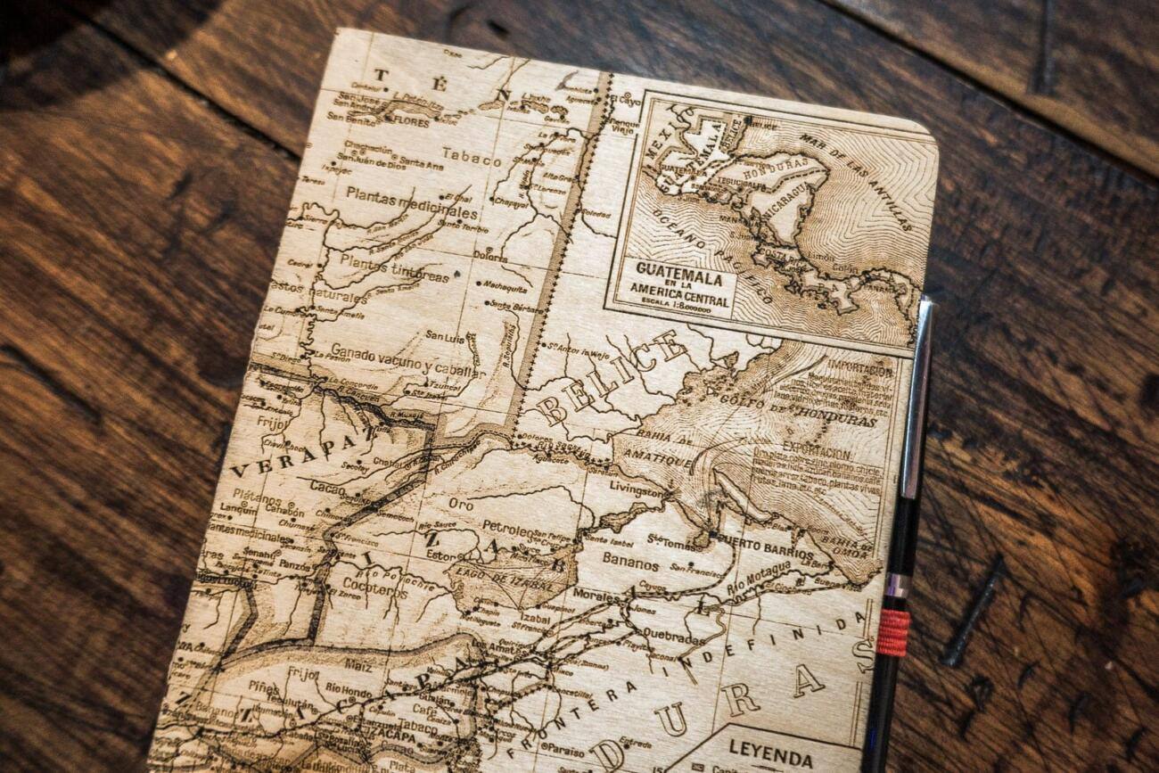 Guatemala Map Sketchbook laser engraved backcover details