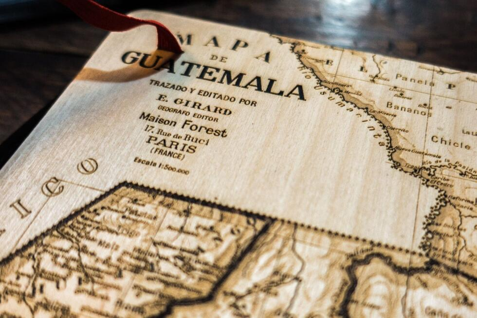 Guatemala map sketchbook laser engraved from wood - backcover details