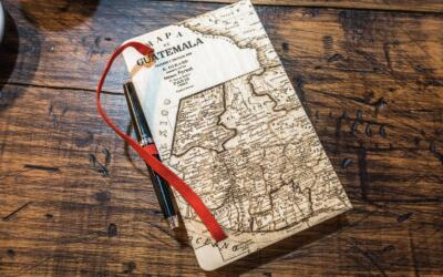 Guatemala map sketchbook laser engraved from wood