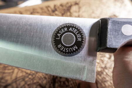 Laser Annealing and Polish marking on stainless steel knife