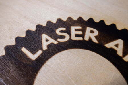 Laser engraving with a branding iron look on birch wood